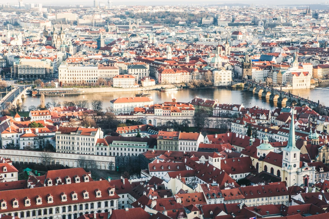 Panoramic view over Prague, Czech Republic