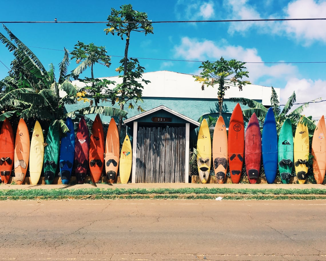 Colorful surfboards and blue skies, Hawaii