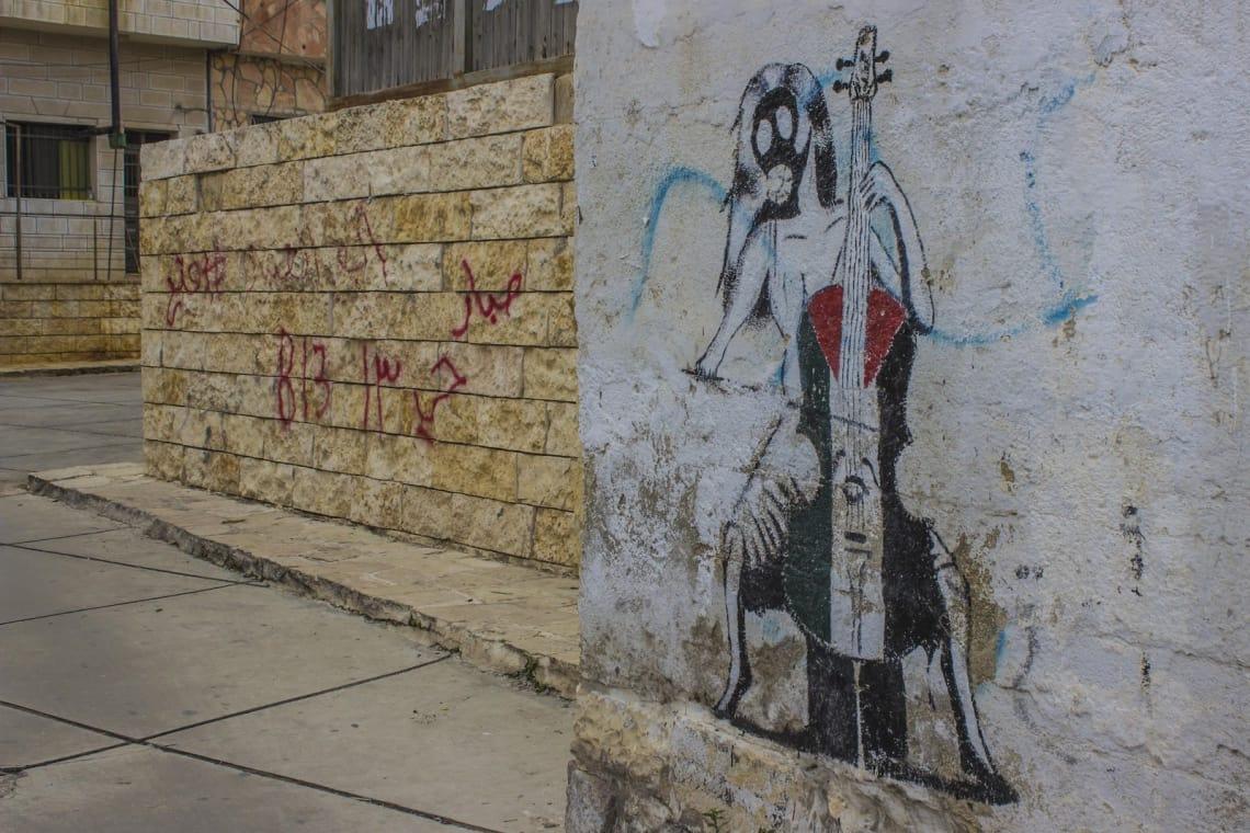 Grafite em muro da cidade antiga de Ramallah