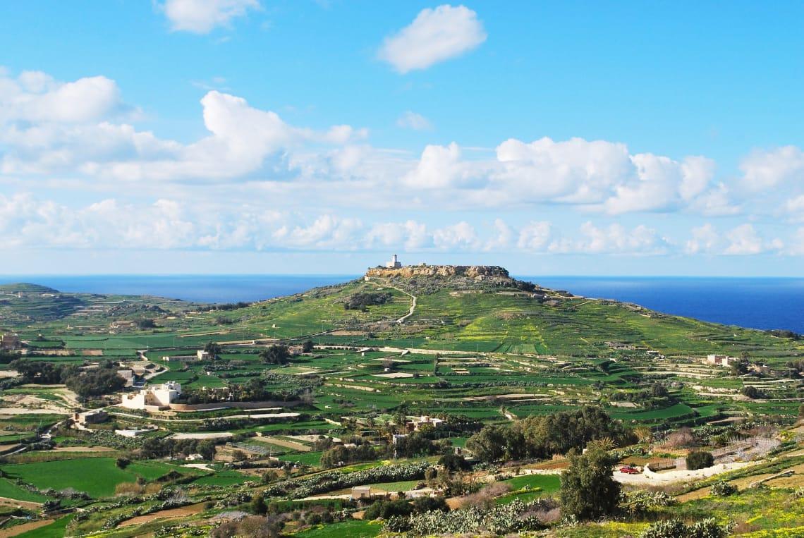 vista panorâmica de Gozo, em Malta.