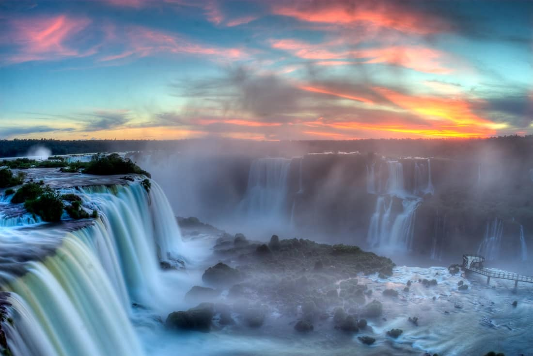visual do por do sol em foz do iguacu