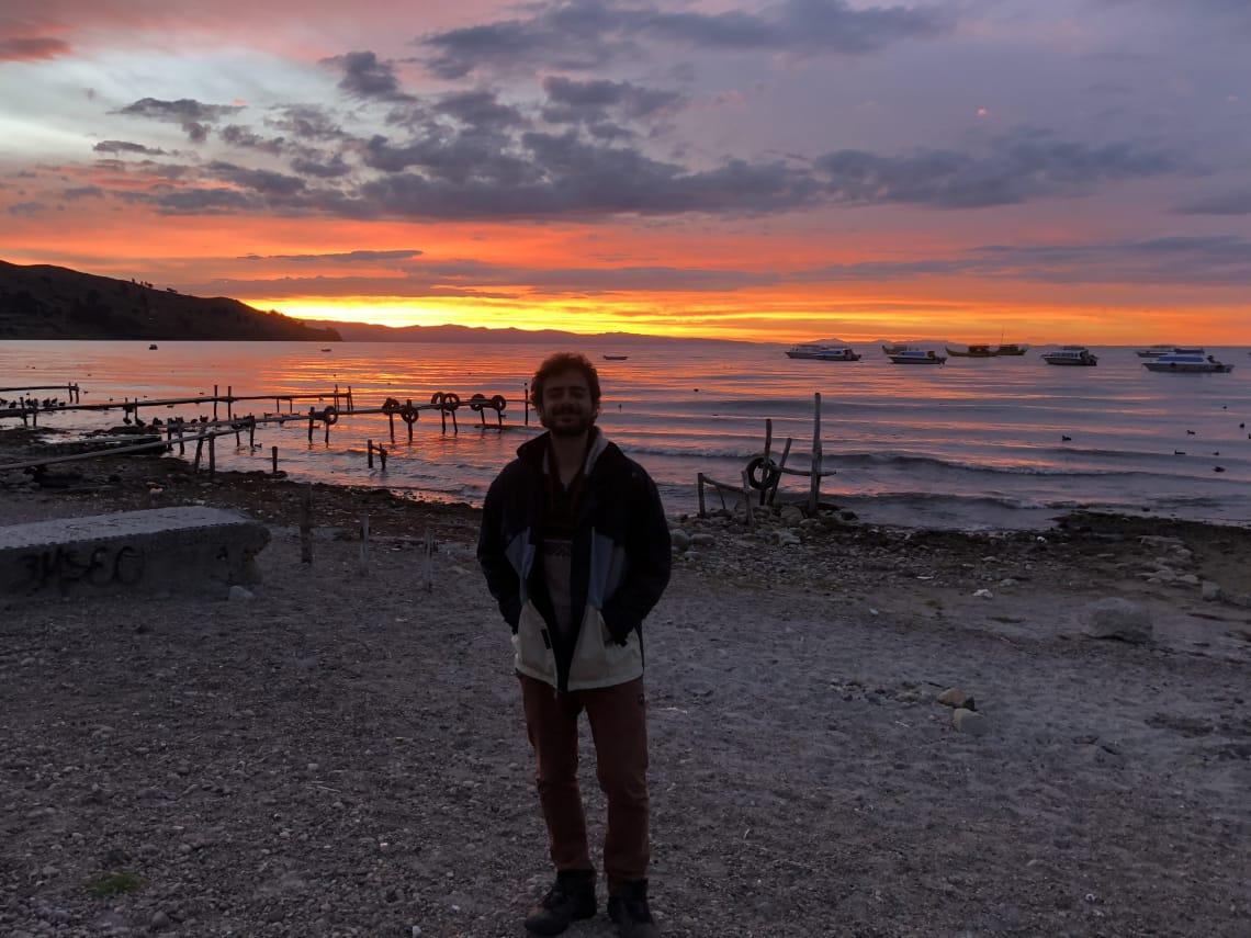 Pôr do sol durante meu mochilão por Peru, Bolívia e Chile