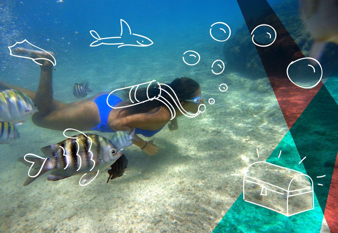 Mulher em mergulho na praia de Maragogi
