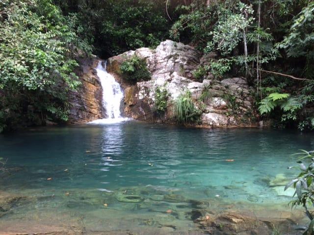 Imagem de uma cachoeira com uma piscina natural de agua azul e vegetação ao fundo