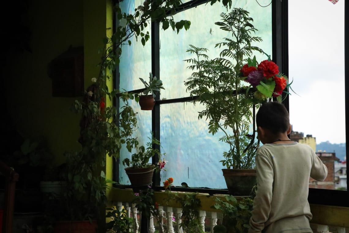 Haciendo un voluntariado en Nepal como profesora - Worldpackers - niño en una ventana