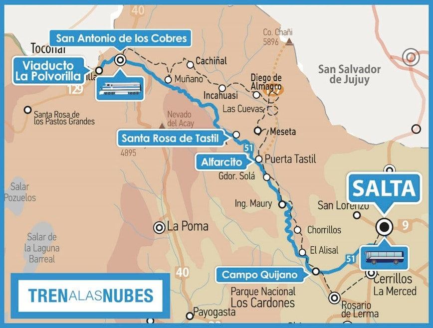 Mapa de roteiro para sua viagem para a Argentina
