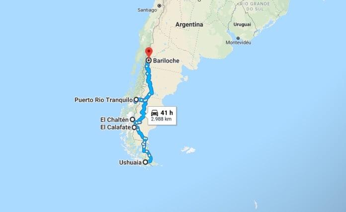 Itinerário pela Patagônia argentina e chilena