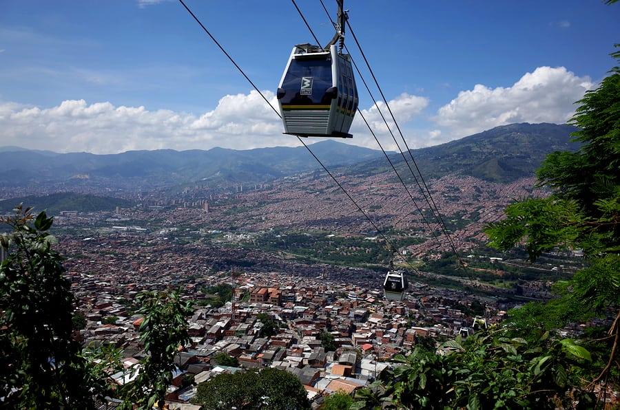 Visto dos teleféricos de Medellín