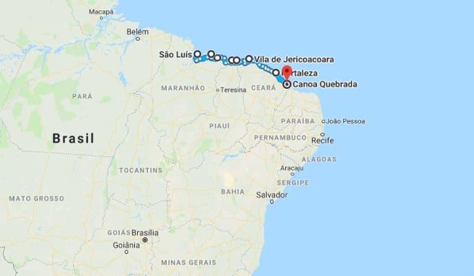Ruta de viaje por Lençóis Maranhenses, Jeri y Canoa Quebrada