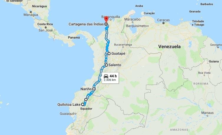 Ruta de viaje a Ecuador y Colombia
