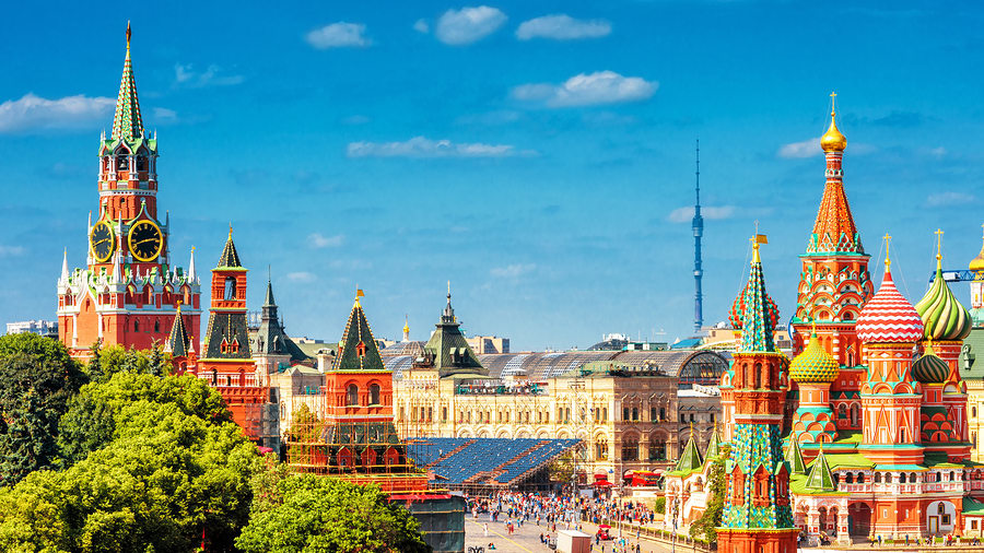 Moscou, cidade russa fora da área do continente asiático