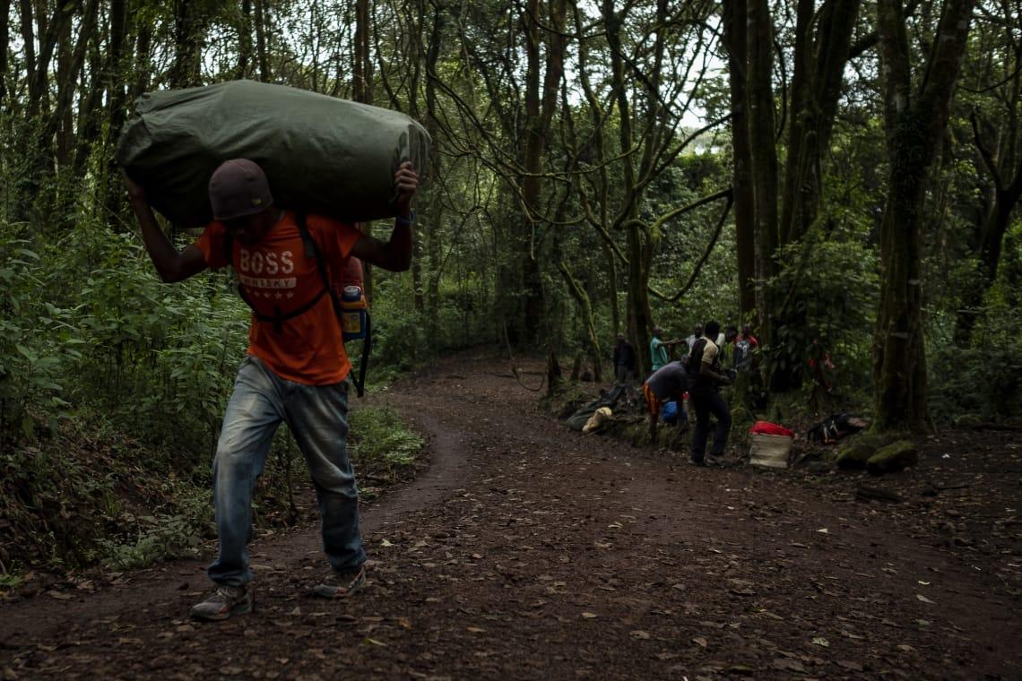 Porteadores cruzando el bosque tropical de Machame.