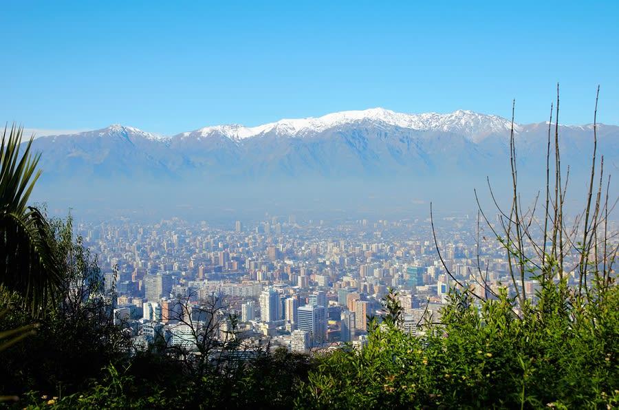 Viagem para Santiago: vista do Cerro San Cristóbal