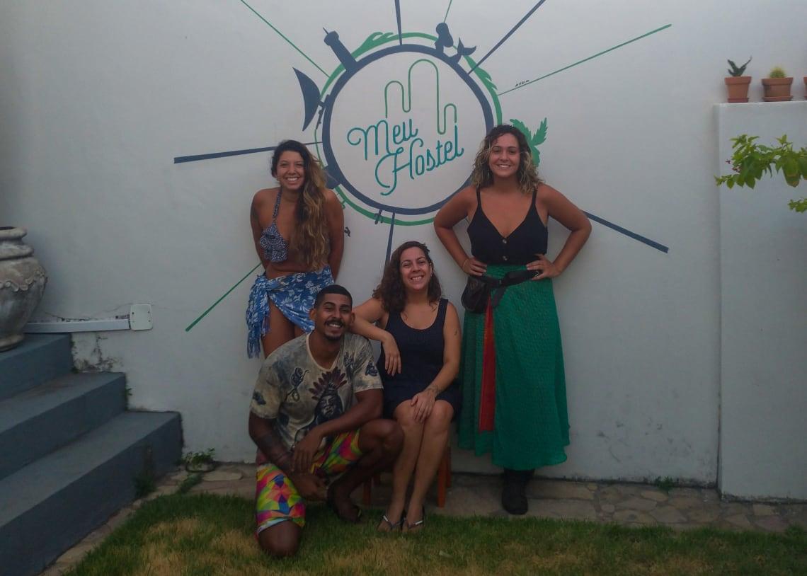 """Pia, Thales, Aline e Eu no """"Nosso Hostel"""" <3"""