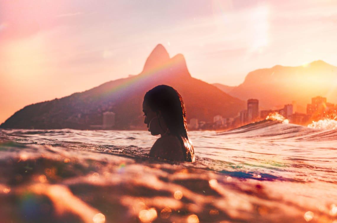 Woman in the ocean, Ipanema Beach, Rio de Janeiro, Brazil