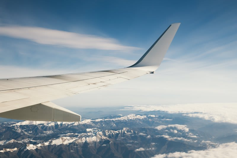Flying over a mountain range