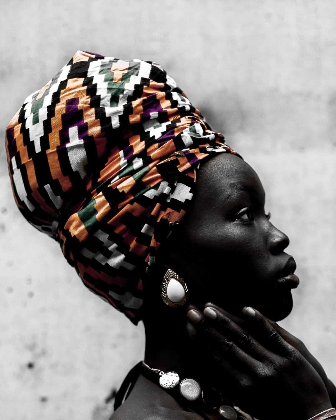Black woman wearing a turban