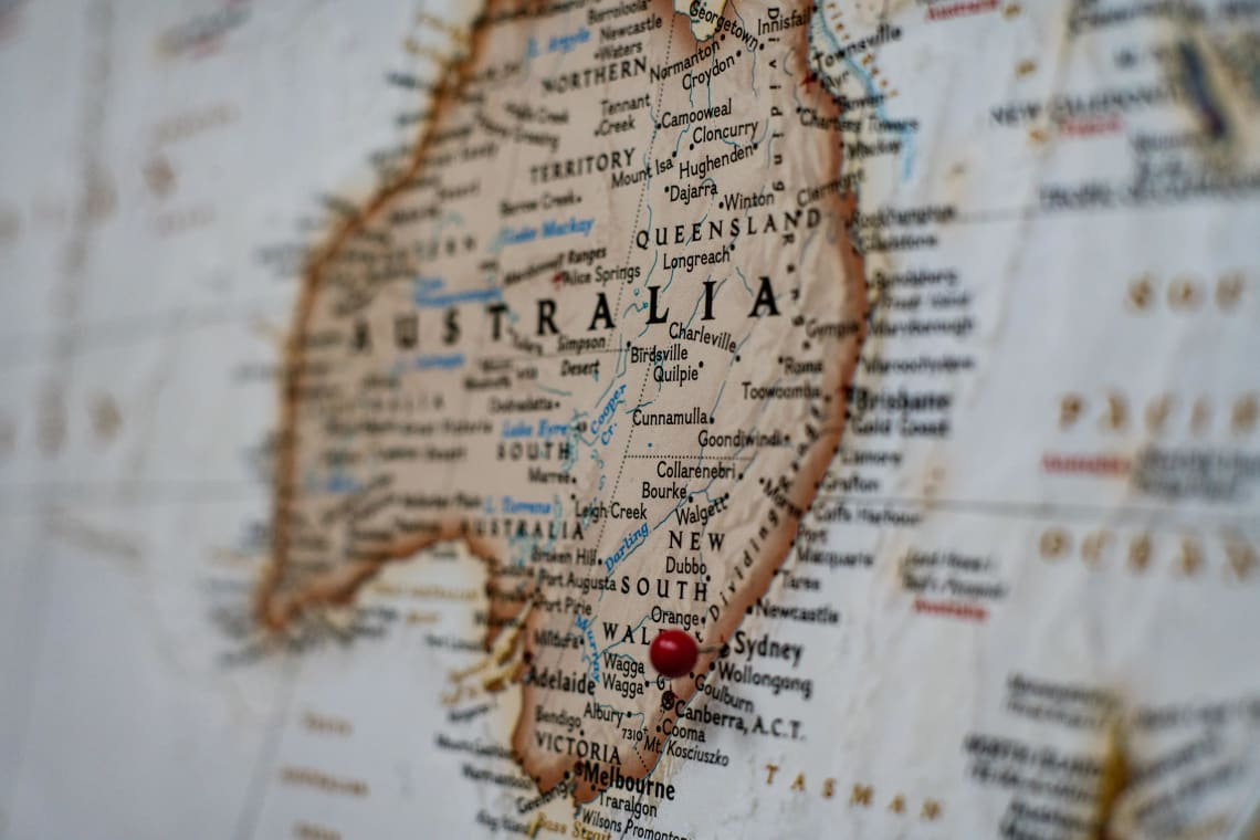 Vintage map of Australia