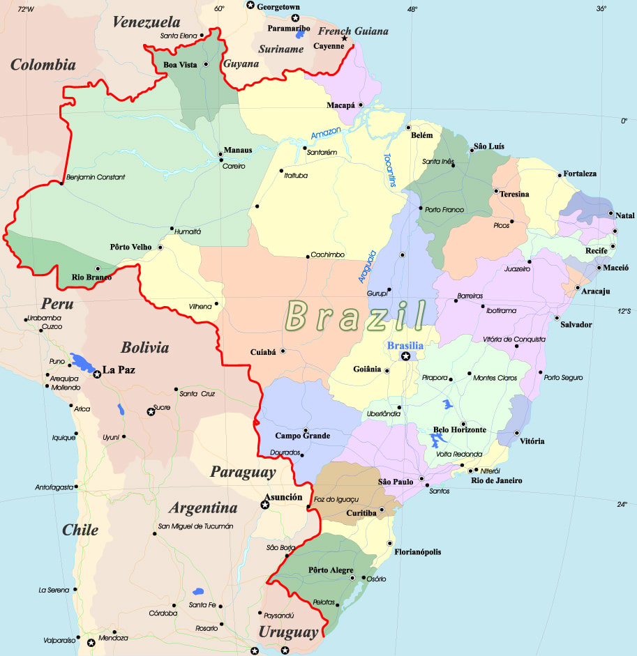 Map of Brazil, South America
