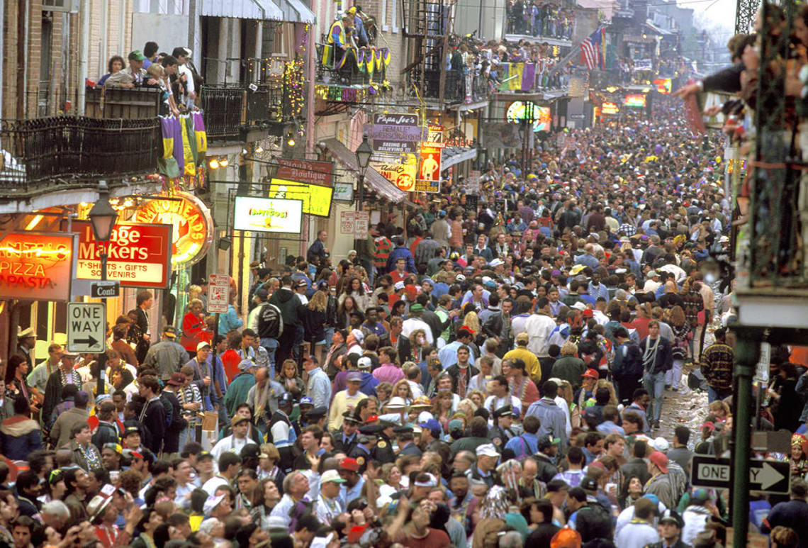 Best things to do in New Orleans during Mardi Gras: party on Bourbon Street