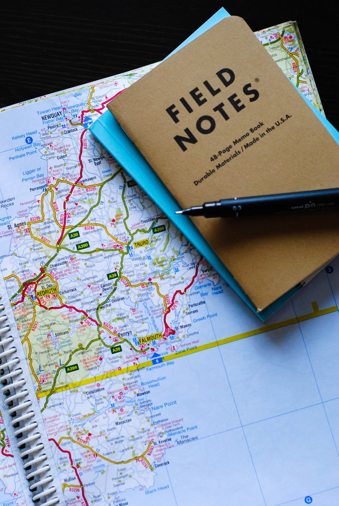 Map and notebook