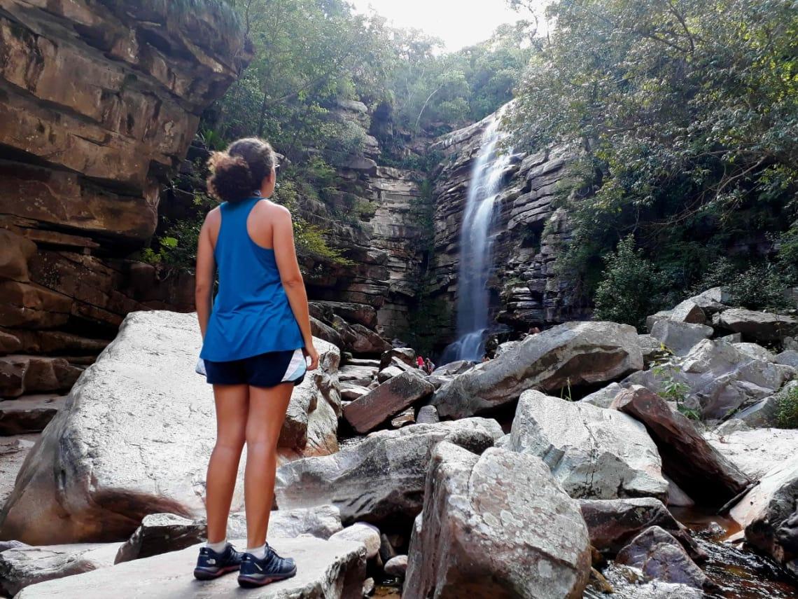 Viajante em cachoeira