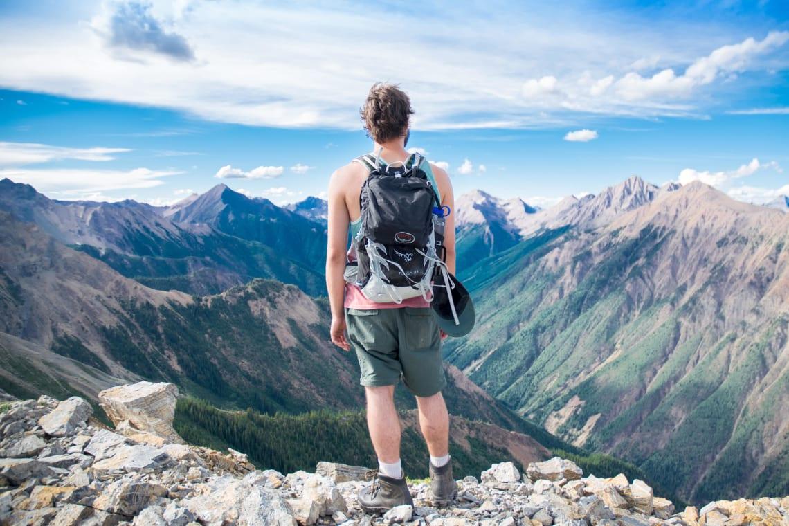 Hiker enjoying a mountain vista