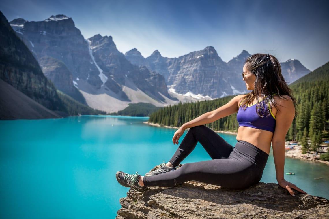 Solo female traveler, Moraine Lake, Canada