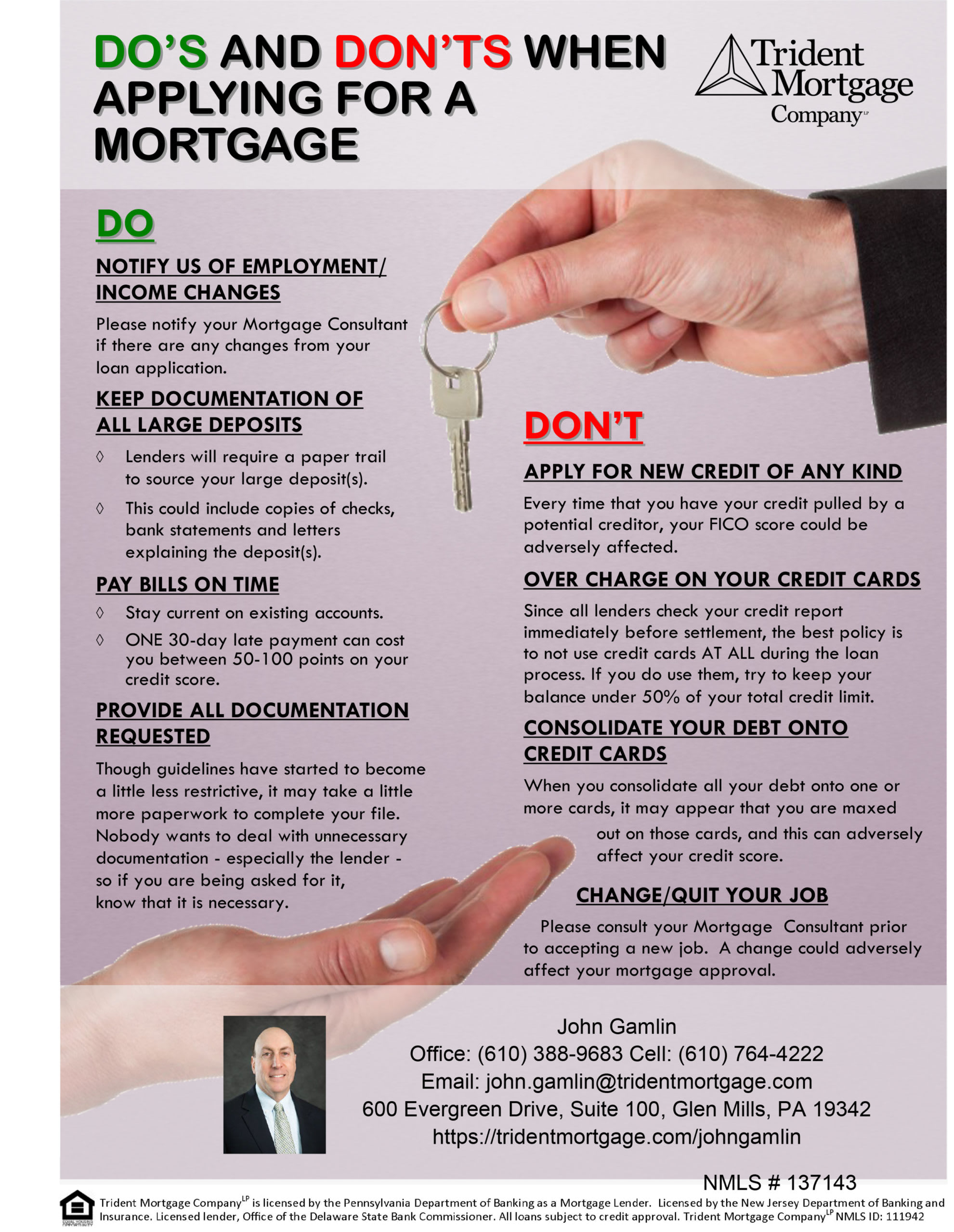 Do's & Don'ts when Applying for a Mortgage