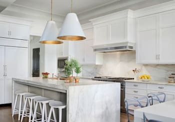 San Diego Home Design Trend: Marble Waterfall Kitchen Islands