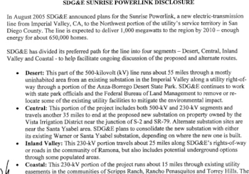 A Bold Prediction – The San Diego-Imperial County Sunrise Powerlink Project will be completed last June.