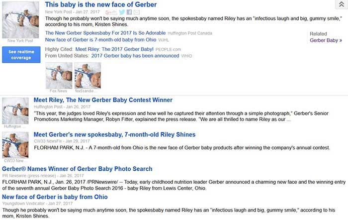 Gerber baby Riley making headlines.