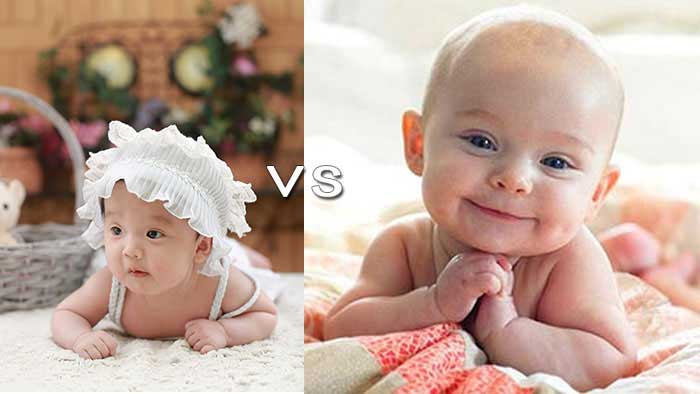 Side by side a professional baby photo vs a mom's photo for a baby contest.