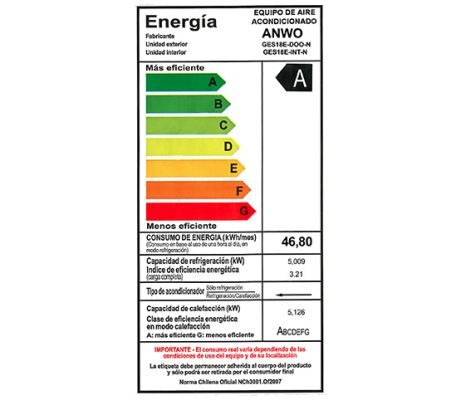 EAA F/C 18000 BTU ECO ALTA EFICIENCIA ENERGÉTICA  CLASE A