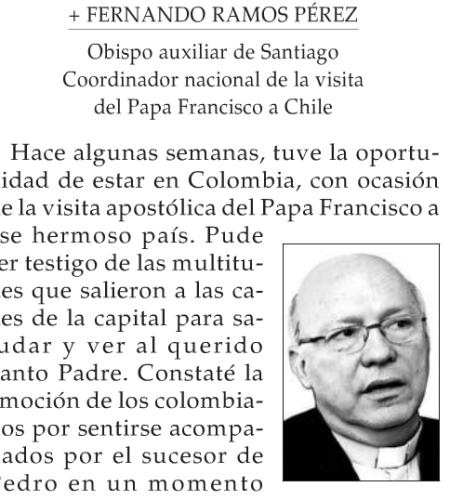 Columna de Fernando Ramos: El Papa Francisco en Colombia y en Chile