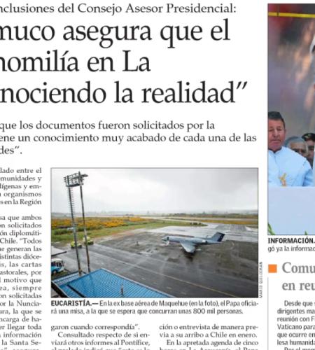 Obispo de Temuco asegura que el Papa hará su homilía en La Araucanía