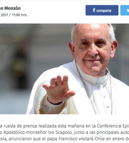 Iglesia confirma la visita del Papa en enero de 2018