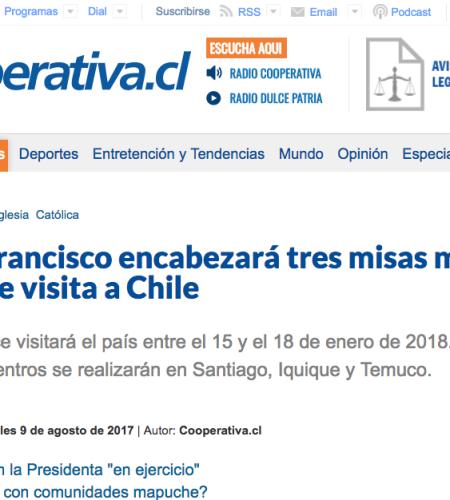 Papa Francisco encabezará tres misas masivas en Chile