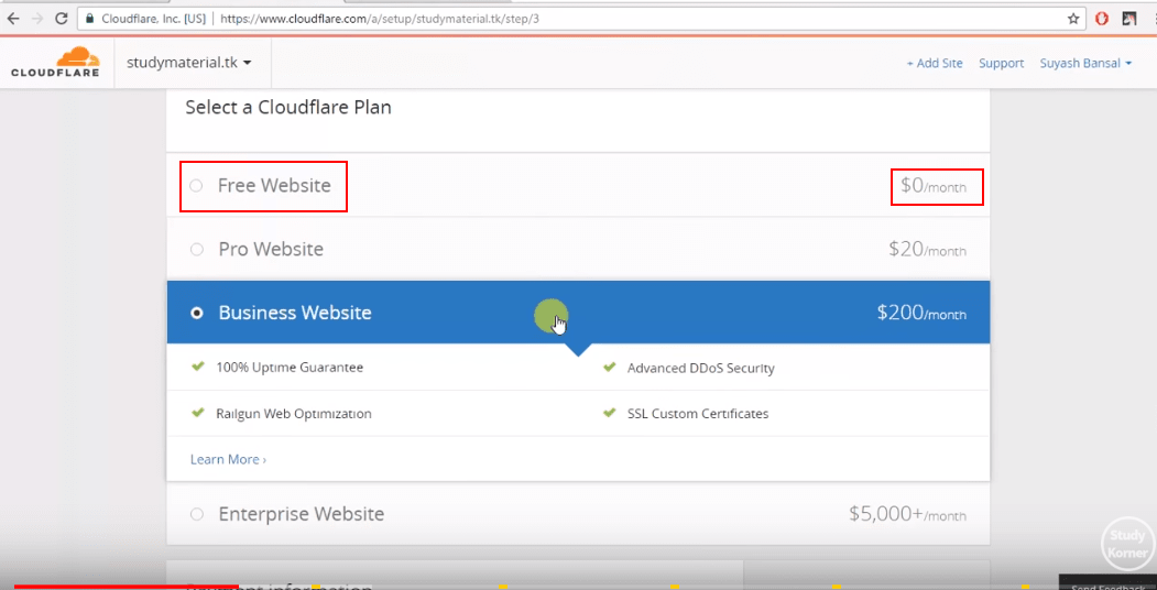 cloudflare_select_free_website