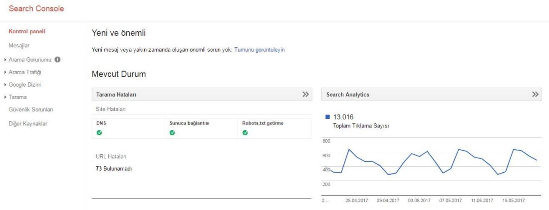 google webmasters tools gosterge