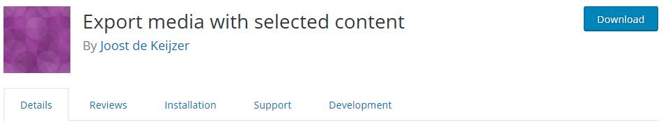 wordpress eklentisi export media with selected content