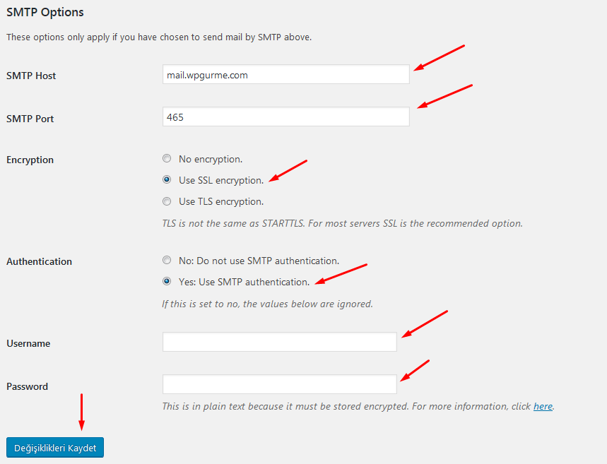 wp smtp mail smtp options