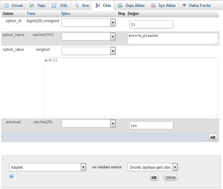 phpmyadmin option-value düzenleme