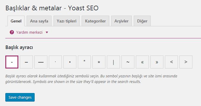 yoast seo baslik ayraci