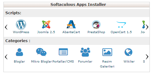 softaculous apps installer wordpress kurulumu