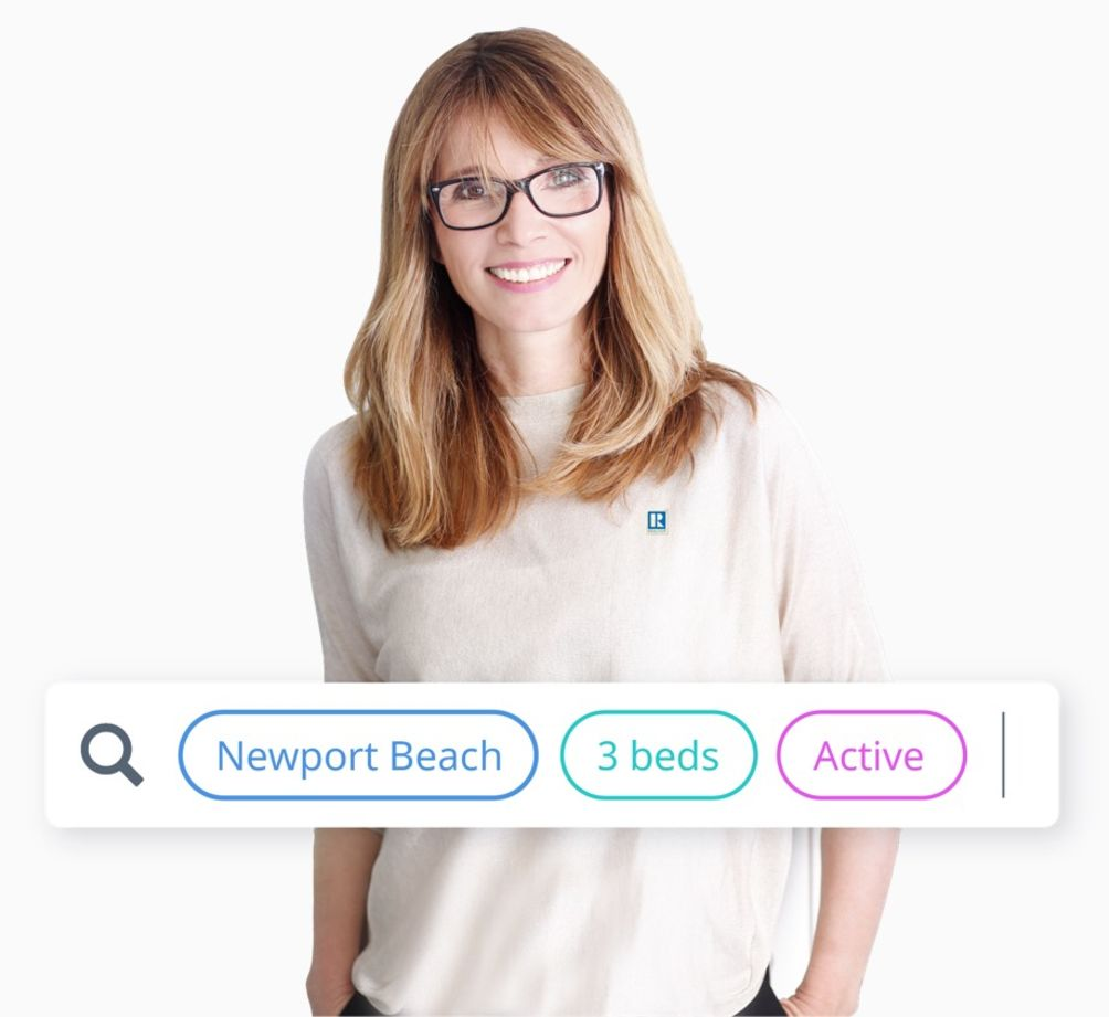 A female realtor smiles at you from behind a floating MLX Search box populated with criteria for Newport Beach, 3 beds, and active status