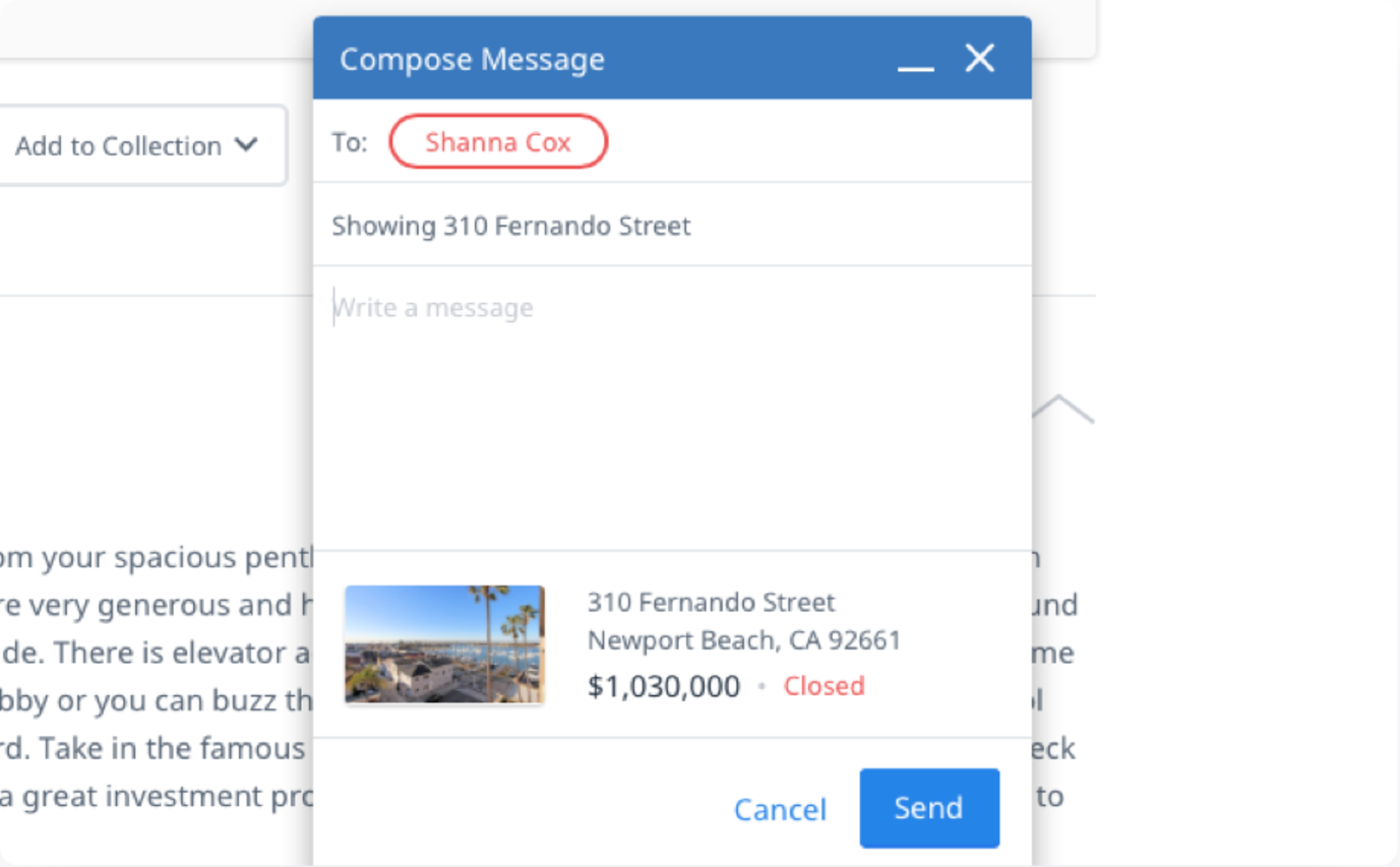 A message composition window is opened and pinned near the bottom right corner.  It is hovering above details about a particular piece of real estate.