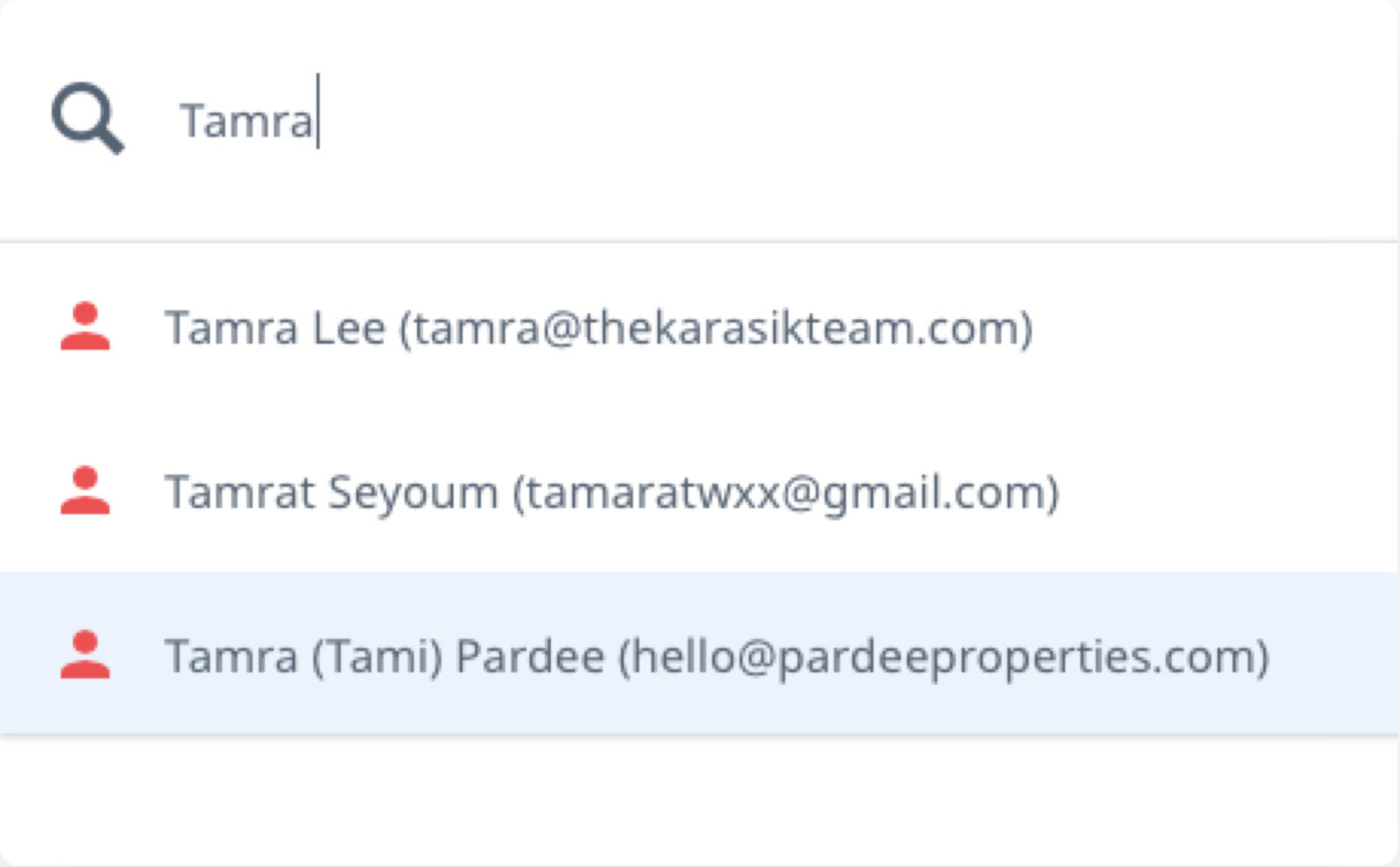 The word 'Tamra' has been typed into the MLX Omni Search Bar, and below this, there are 3 results matching the name Tamra, the third of which the user has highlighted for selection.