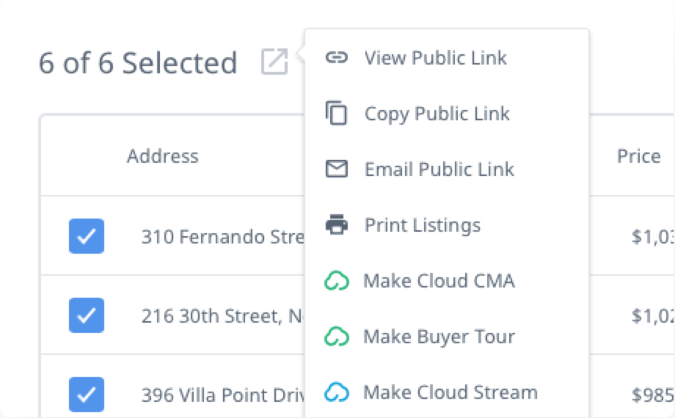 A menu of options is displayed over a list of selected real estate listings, including options to print the listings, email the listings, get a URL to the listings, and sending the listings to Cloud CMA or Cloud Streams for additional benefits.