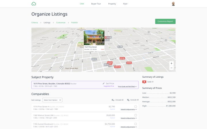 The Cloud CMA Listings view shows a map of properties on top and a list of comparable properties below that